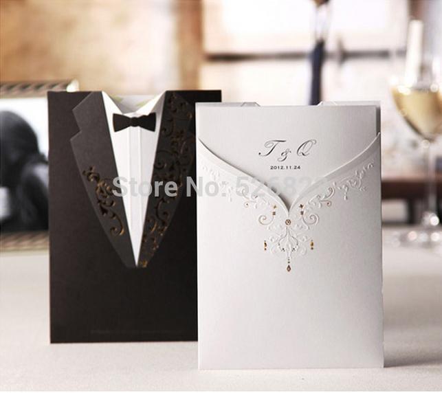 elegante vestido noiva eo noivo convites de casamento cartão, personalizado festa de casamento saudação, kit, 100pcs/lot express frete grátis(China (Mainland))