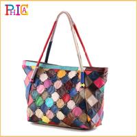 Hot Rivet Designer Elegant Patchwork Women Travel Bags Handbag Genuine Leather Shoulder Bag Totes Drop/Free Shipping FLY145