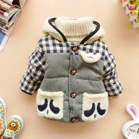 [LOONGBOB]2014 new baby boy & girl outerwear children winter thicken warm hooded plaid coat kids cartoon cotton-padded jacket