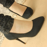 2014 autumn shoes pointed toe thin heels high-heeled shoes women  plain velvet work shoes