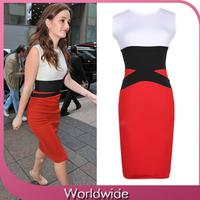 2014 Women Summer Elegant Patchwork O-neck Sleeveless Knee-length Women Pencil Dresses Fashion Brand Design OL Business Dress