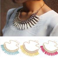 Women Fashion Crystal Pendant Chain Choker Chunky Statement Bib Necklace Free