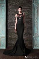 Rami Kadi 2015 Hot Sale  Fashion Black Lace Crew Neck Satin Mermaid Evening Dresses
