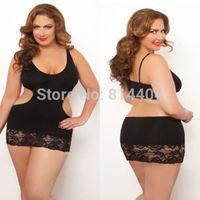 Sexy Lace Hollow Elastic Plus Size Sleepwear Lingerie Underwear Women Nightwear