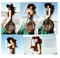 Free shipping easy style flower women's handbag fashion grass waving shoulder bag lady flower knit sandbeacg bags