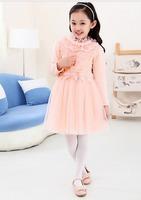 Teenager girl autumn princess wind Nail bead leaf collar dress 110-150cm