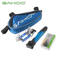 Free shipping 2014 SAHOO NEW Multifunction Tools MTB Road Bicycle Tire Repair Kits Bag,Bike tools Set kits Pouch with mini pump