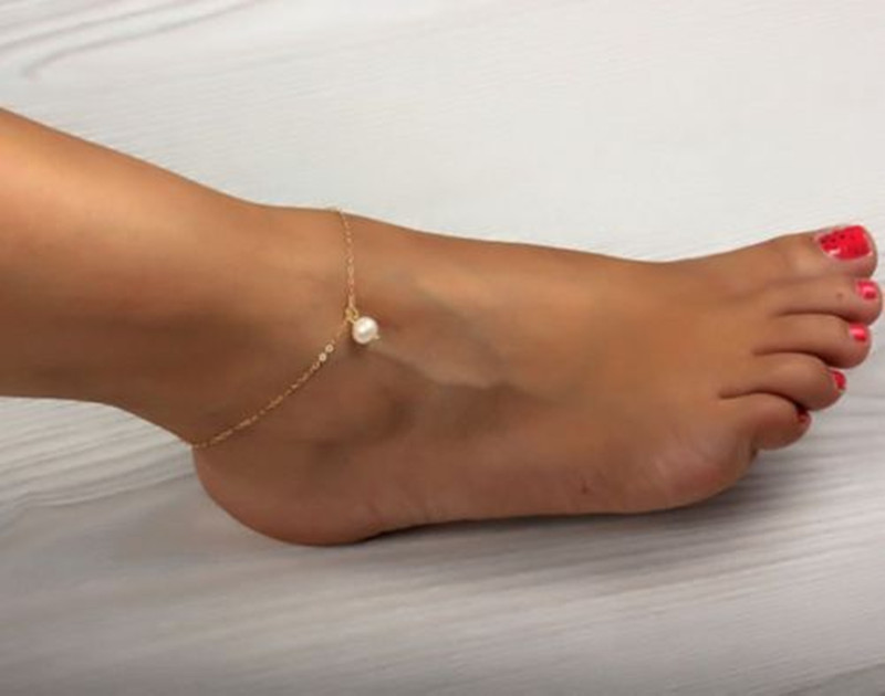 Sexy Women Pearl Bead Ankle Chain Anklet Bracelet Foot Jewelry Sandal Beach(China (Mainland))