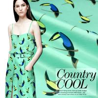 Toucan silk double Palace bamboo hemp European and American big summer and wholesale fashion apparel fabrics printed fabrics