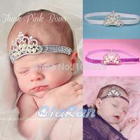 Baby Headband Crystal & Pearl Tiara Headband Princess Girl Crown Headband Baptism Christening Hairband 10pcs HB076