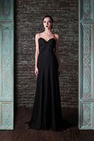 Rami Kadi 2015 Hot Sale  Fashion Black Chiffon Spaghetti Strap Beads Floor Length Evening Dresses