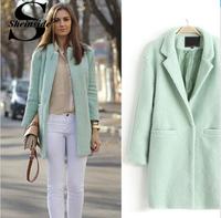 Sheinside Autumn Winter Women Casual Tops Outerwear 2014 New Arrival Fashion Mint Green Lapel Double Pocket Longline Wool Coat