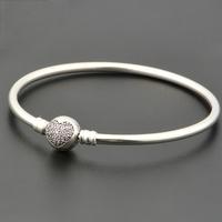 Newest 925 Sterling Silver 'Circle of Love' Charm Bangle Bracelet / Fit Pandora Bracelet, Not Silver Plated, 100% Silver
