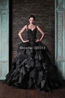 Rami Kadi 2015 Hot Sale  Fashion Black Lace Beads  Spaghetti Strap Luxurious Floor Length Evening Dresses