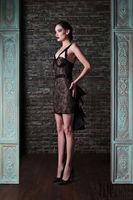 Rami Kadi 2015 Hot Sale  Fashion Black Lace and Champange Knee LengthEvening Dresses