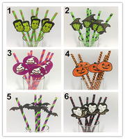 100pcs/lot,  6 Different Halloween Day Paper Drinking Straws with 100pcs Funny Tags, Halloween Party Decoration Supplier