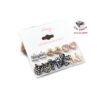EH576 Europe and the United States act the role ofing is tasted The owl anchor crown bowknot 6 for stud earrings 2pcs/lot