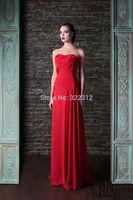 Rami Kadi 2015 Hot Sale Fashion Red Chiffon Draped Floor Length Evening Dresses