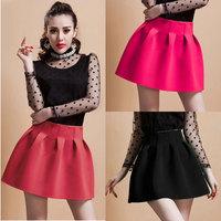 New Winter Korean Girl short Mini skirts womens Ball Gown High Waist Pleated Skirt Rose saias femininas
