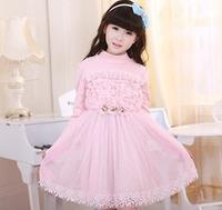 three-dimensional flower pearl gauze girl long sleeve dress