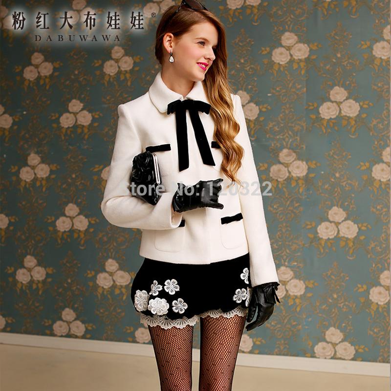 DABUWAWA Authentic New 2015 Brand Spring and Autumn White Slim Vintage Formal Short Wool Coat Jacket Women Plus Size(China (Mainland))