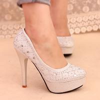 Thin heels shallow mouth rhinestone rivet women's shoes platform high-heeled shoes sexy shoes autumn shoes princess