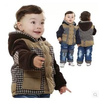 Boys clothing thickening wadded jacket 2014 winter  Children's suit jacket outerwear infant casual