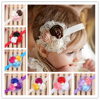 10 pieces/lot cute flower lace baby hair band newborn pearl headbands infant baby girls hair accessories products 10 colors
