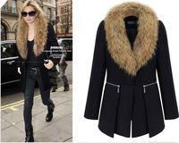 Women's 2014 woolen medium-long large fur collar overcoat trench woolen outerwear ymn