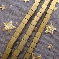 2015 New!!! Free Shipping AAA 2mm Matte Gold Hematite cube Loose Beads 360pcs/lot Wholesale
