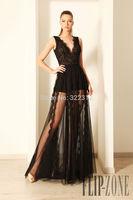 2015 Hot Sale Fashion Deep V Neck Fashion Lace Tulle Floor Length Evening Dresses