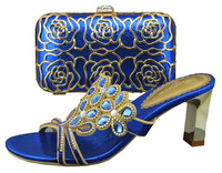 New 2014 Italy style lady high heel  shoes with matching  cluth or bag CSB1073- BLUE