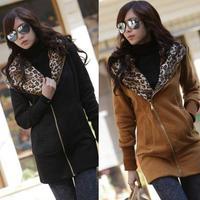 New Autumn Winter Women Sweatshirt Long Sleeve Hoody Cardigan Coat Lady Hoodies Sports Wear Zip Up Leopard Sweatshirts Outerwear