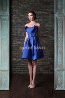 Rami Kadi 2015 Hot Sale Fashion Off the Shoulder Blue Satin Knee Length Evening Dresses