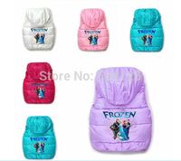 Frozen Snow Queen Elsa Anna waistcoats Children Princess Hooded Vest candy color outerwear for boys girls costumn winter coat
