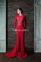 Rami Kadi 2015 Hot Sale Fashion Red Lace Long Sleeves Crew Nekc Mermaid Evening Dresses