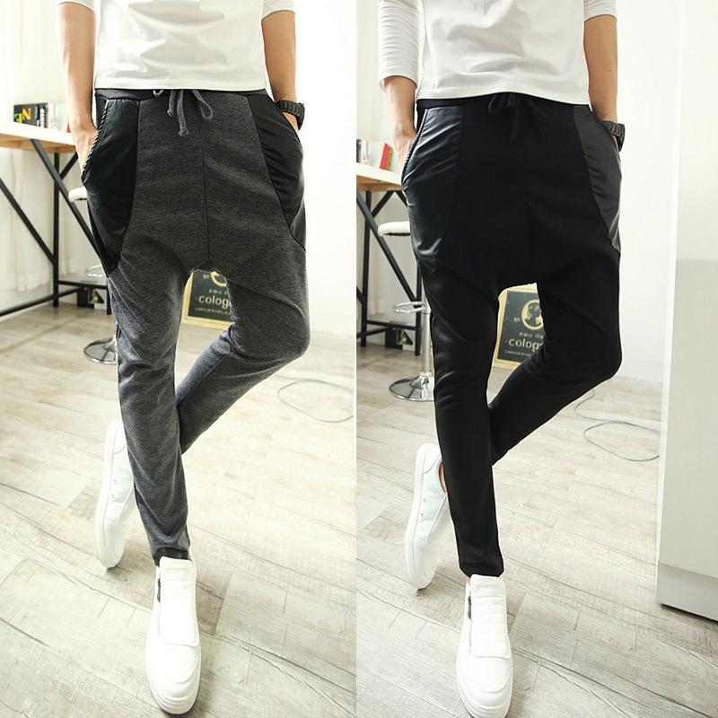 2014 Brand Fashion New Mens Drop Crotch Harem Pants Sports jogging Tapered trousers Hip Hop Slacks skinny joggers SweatPants(China (Mainland))