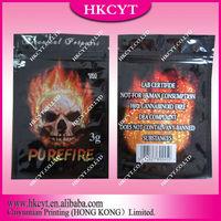 New design Pure fire 3g herbal incense ziplock bag/resealable aluminum foil spice potpourri bag