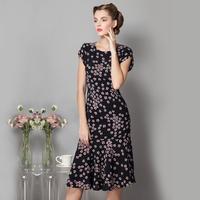Summer elegant gentlewomen slim elegant noble vintage elastic slim hip one-piece dress full dress