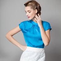 Summer 2014 stand collar slim solid color short-sleeve all-match pleated elegant gentlewomen shirt female shirt