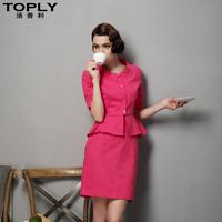 Autumn linen cotton elegant slim gentlewomen elegant half sleeve OL outfit skirt work wear women's set