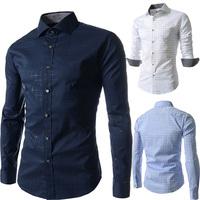 2014 men's clothing autumn print male long-sleeve plaid shirt personalized shirt slim male man blouses t-shirt
