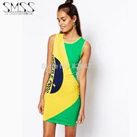 New arrival  fashion  o-neck slim yellow green patchwork women dress brazil national flag print vest casual dress summer dress
