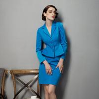 Autumn velvet work wear women's set OL outfit elegant gentlewomen suit set career dress set