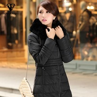 2014 winter  new  woman  long design  faux fur   hooded  thickening  down coat   slim waist  warm coat  down  parkas   C861