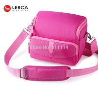 Freeshipping-Fashion LERCA Pink Digital Camera Shoulder Bag Case For Nikon P600,D7000,D90,D610,D300S,AW120S,AW110S,S9600,S8000