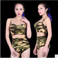 Women Sexy Ds Costume Dance Jazz Camouflage Hiphop Clothes  Good Sale Suite XTZ035