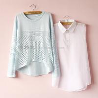 Free shipping 2014 turn-down collar shirt cutout long-sleeve sweater twinset The new sweater   Fashion sweater