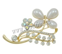 Free shipping!!!Zinc Alloy Brooches,chinese style, with Glass Pearl, Butterfly, gold color plated, with rhinestone, nickel