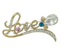 Free shipping!!!Zinc Alloy Brooches,Beautiful Jewelry, with Crystal, Letter, gold color plated, with rhinestone, nickel
